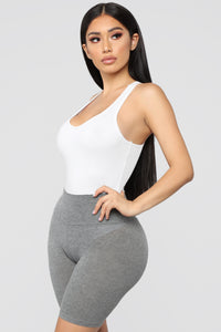 Zoey Racer Back Bodysuit - White