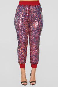 Make Money Moves Sequin Joggers - MultiColor