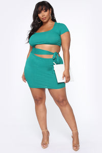 Easy As Tie Cut Out Mini Dress - Kelly Green Angle 7