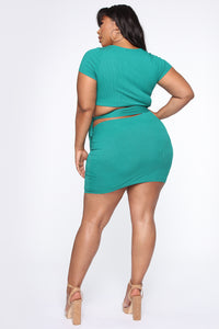 Easy As Tie Cut Out Mini Dress - Kelly Green Angle 6