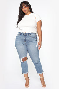 Need A New High Rise Mom Jeans - Medium Blue Wash Angle 7