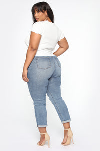 Need A New High Rise Mom Jeans - Medium Blue Wash Angle 12
