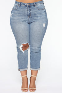 Need A New High Rise Mom Jeans - Medium Blue Wash Angle 8