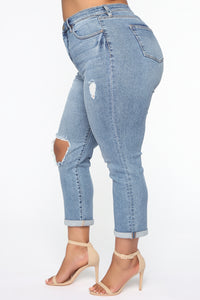 Need A New High Rise Mom Jeans - Medium Blue Wash Angle 9