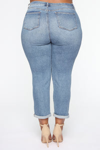 Need A New High Rise Mom Jeans - Medium Blue Wash Angle 11