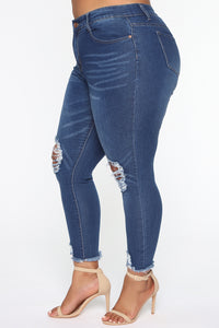 Girl On The Go Distressed Jeans - Medium Blue Wash Angle 9