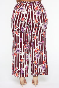 Rooftop Brunch Flare Pants - Burgundy Angle 5