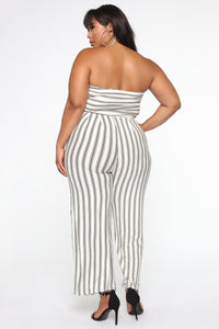 Beautiful And Breezy Jumpsuit - White/Black
