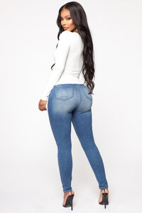 What You Need High Rise Skinny Jeans - Medium Blue Wash
