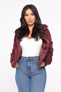 Nights In Denver Bomber Jacket - Wine Angle 1
