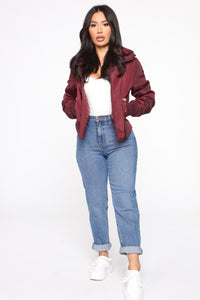Nights In Denver Bomber Jacket - Wine Angle 2