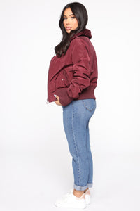 Nights In Denver Bomber Jacket - Wine Angle 4