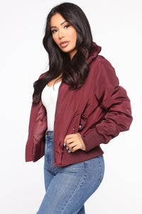 Nights In Denver Bomber Jacket - Wine Angle 3