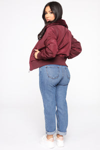Nights In Denver Bomber Jacket - Wine Angle 5