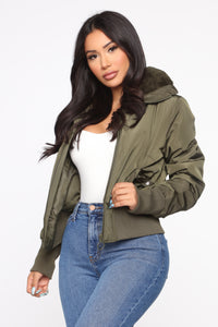 Nights In Denver Bomber Jacket - Olive Angle 1