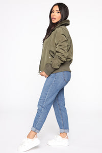 Nights In Denver Bomber Jacket - Olive Angle 4