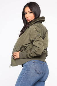 Nights In Denver Bomber Jacket - Olive Angle 3