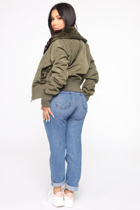 Nights In Denver Bomber Jacket - Olive Angle 5