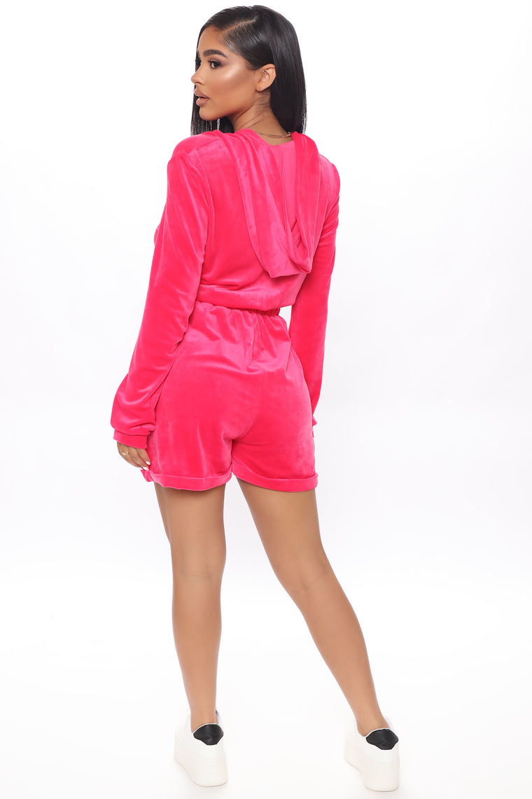Sweet As Candy Velour Romper - Fuchsia