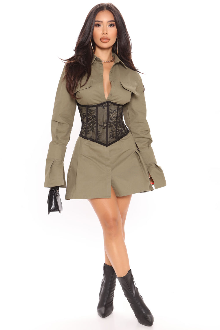 Booked And Busy Corset Mini Dress - Olive
