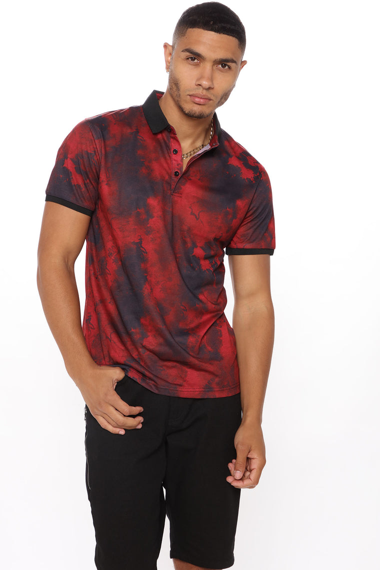 Warren Crystal Wash Short Sleeve Polo - Red/Black