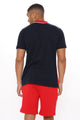 Clean Lines Colorblocked Short Sleeve Polo - Red/combo