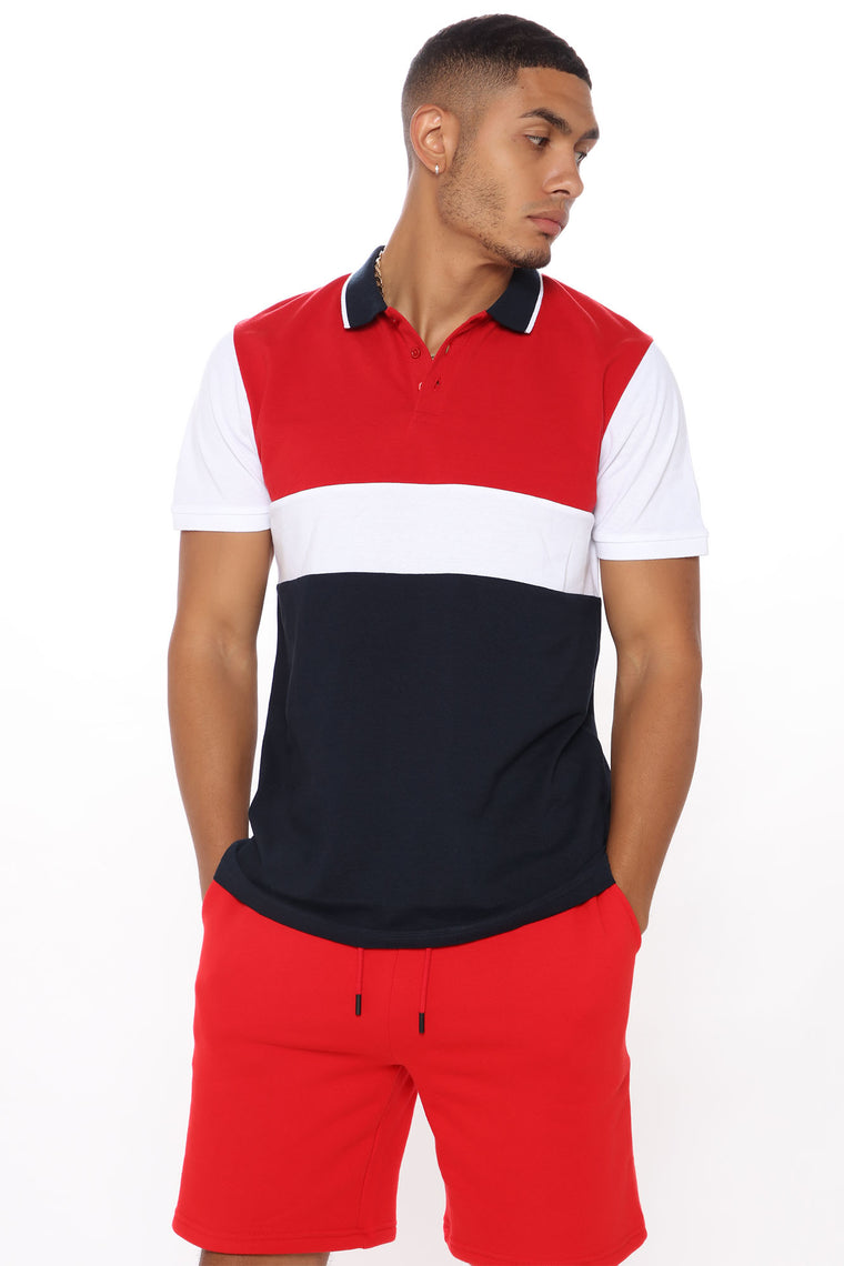 Darren Colorblocked Short Sleeve Polo - Red/combo