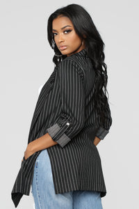 Classic Striped Blazer - Black
