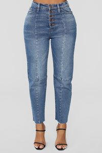Something To Talk About Boyfriend Jeans - Medium Blue Wash Angle 2