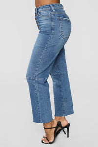Something To Talk About Boyfriend Jeans - Medium Blue Wash Angle 3