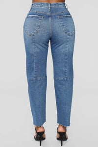 Something To Talk About Boyfriend Jeans - Medium Blue Wash Angle 5