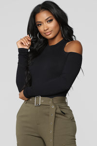 Emery Cold Shoulder Bodysuit - Black