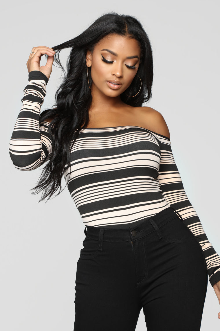 Too Much Too Late Striped Bodysuit II - Black/Taupe