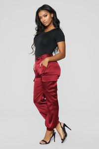 Who Is She Stretch Satin Cargo Pants - Berry