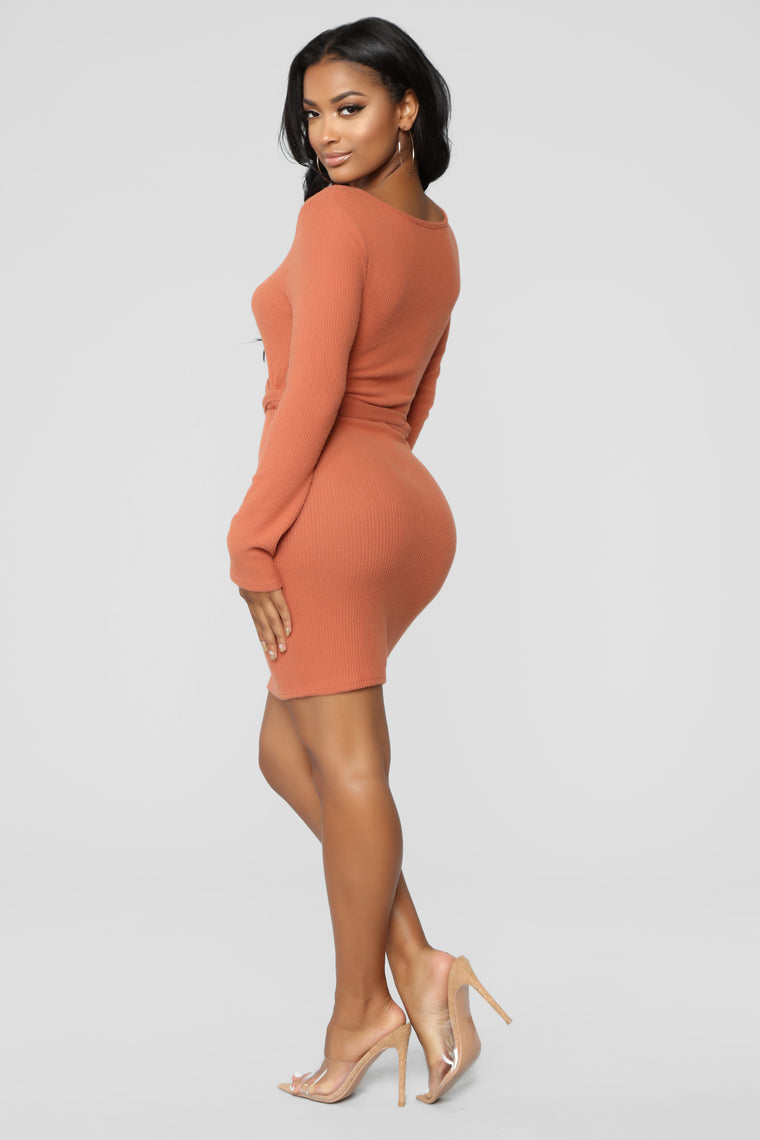 Wrap About It Dress - Rust
