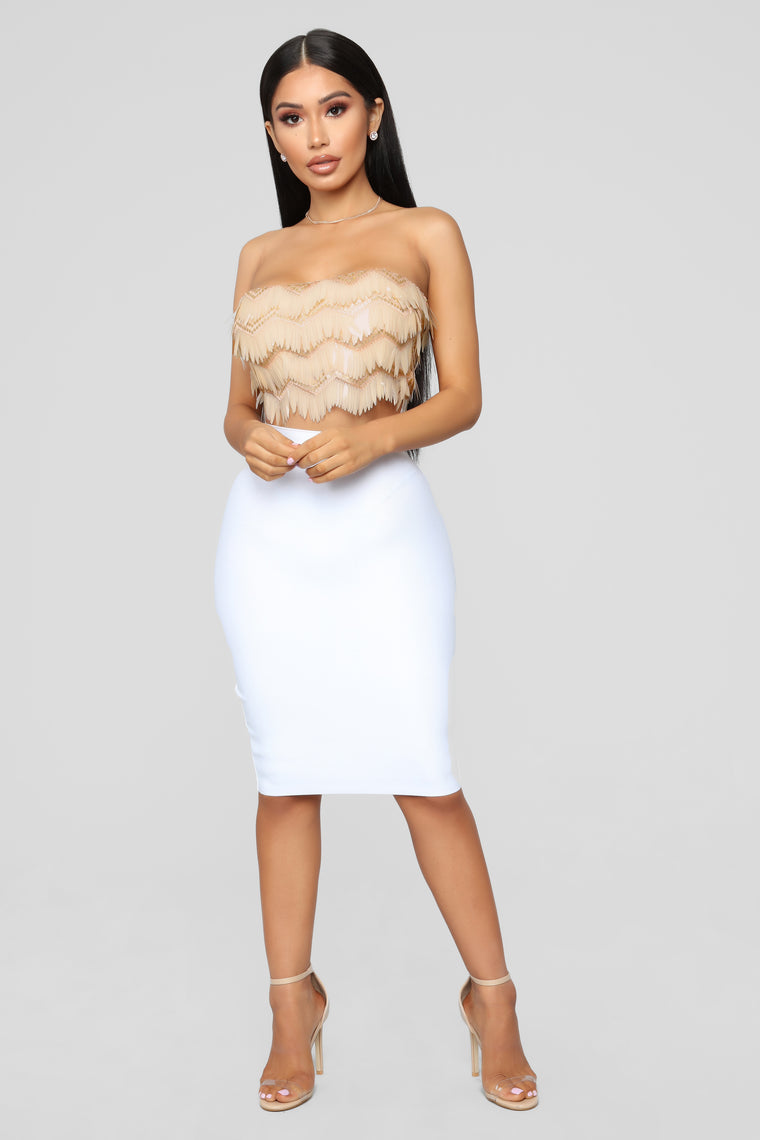 Hollywood Fringe Crop Top - Nude