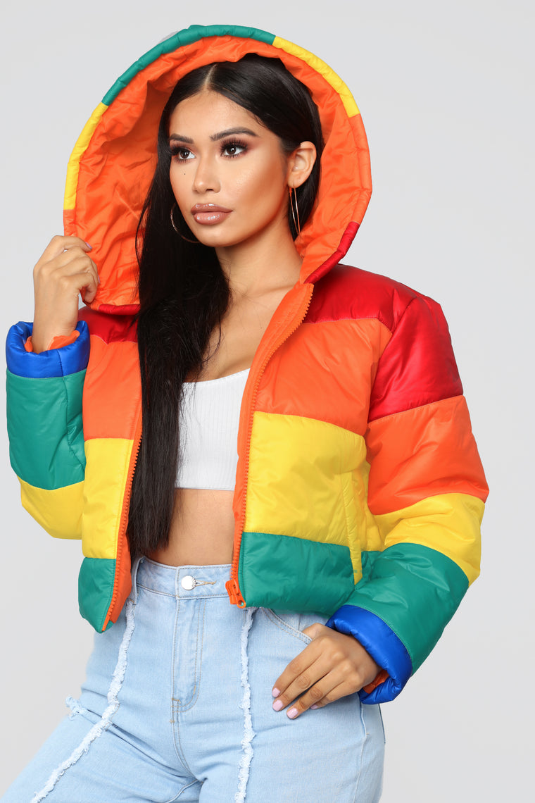 Rainbow Finesse Cropped Jacket - MultiColor