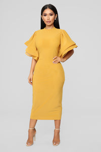 No Drama Ruffle Dress - Mustard