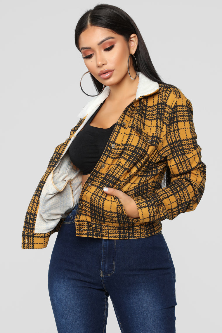 Casual Lover Sherpa Plaid Jacket - Mustard/combo
