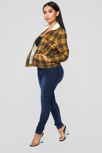 Casual Lover Sherpa Plaid Jacket - Mustard/combo Angle 3