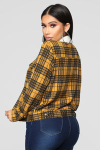 Casual Lover Sherpa Plaid Jacket - Mustard/combo Angle 5