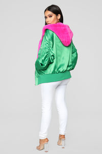 Life In Color Bomber Jacket - Green/Fuchsia