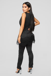 Sweetheart Kisses Pant Set - Black