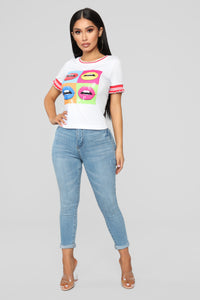 These Lips Are Sealed Tee - White