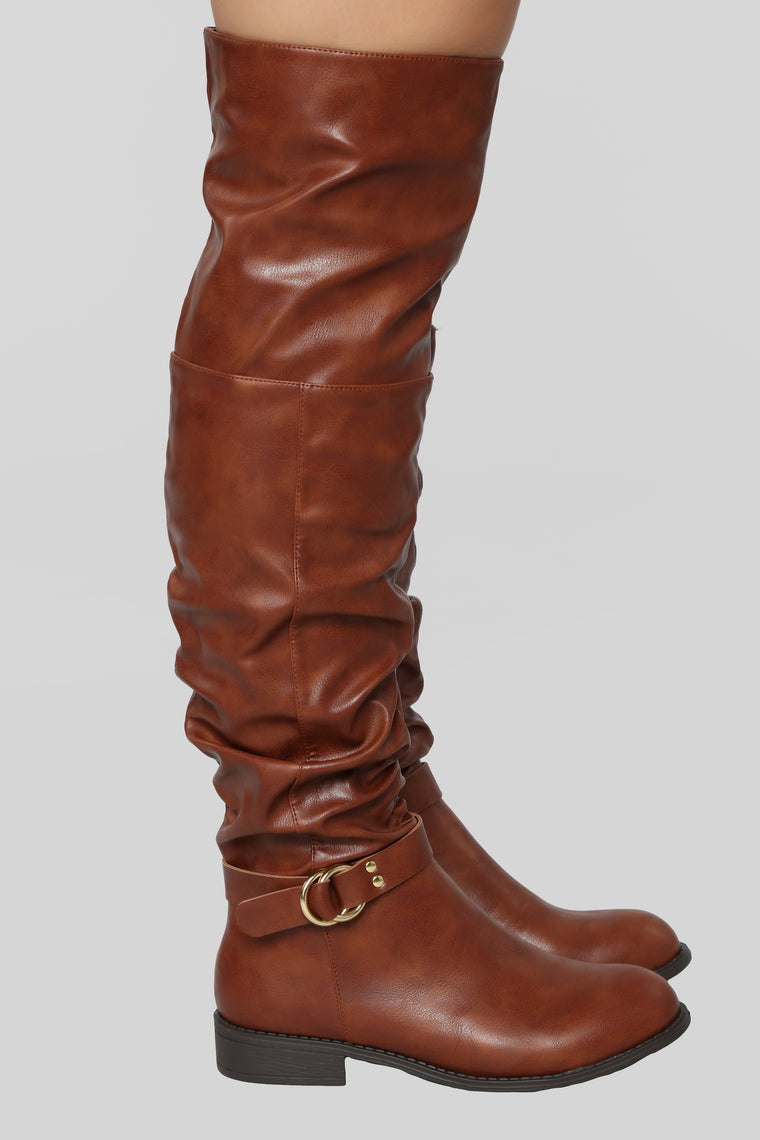 Keep Him Away Flat Boot - Cognac
