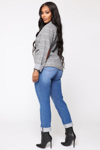 Need A New High Rise Mom Jeans - Light Blue Wash Angle 3