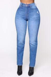Need A New High Rise Mom Jeans - Light Blue Wash Angle 1