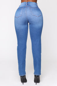 Need A New High Rise Mom Jeans - Light Blue Wash