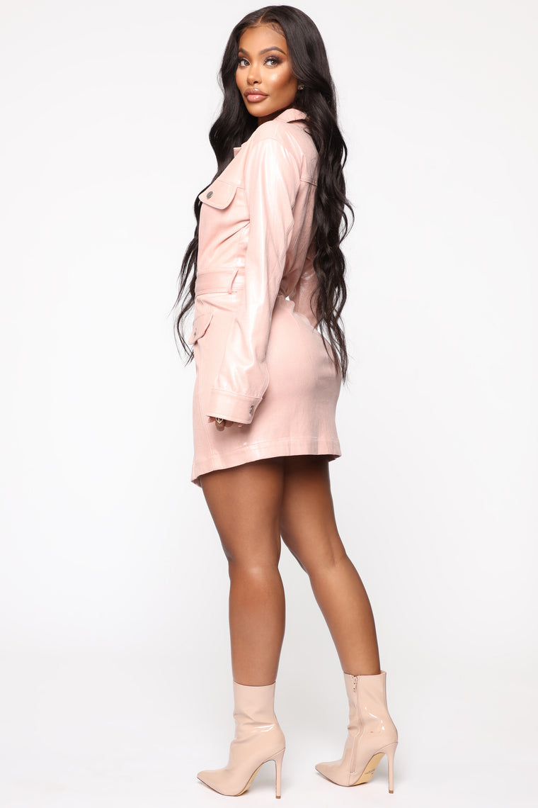 Taking The Lead Belted Mini Dress - Pink