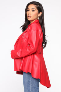 Good Girl Faux PU Jacket - Red